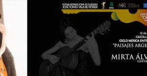 El viernes 19 de julio disfrutaremos del concierto de guitarra de Mirta Álvárez en el castillo de Petrer