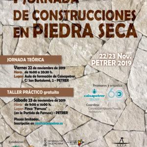 El próximo 22 y 23 de noviembre se realizará la I Jornada de Construcciones en Piedra Seca en Petrer