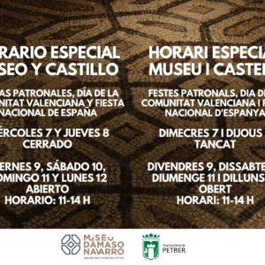 Horario especial del museo y castillo para las fiestas patronales y el puente festivo